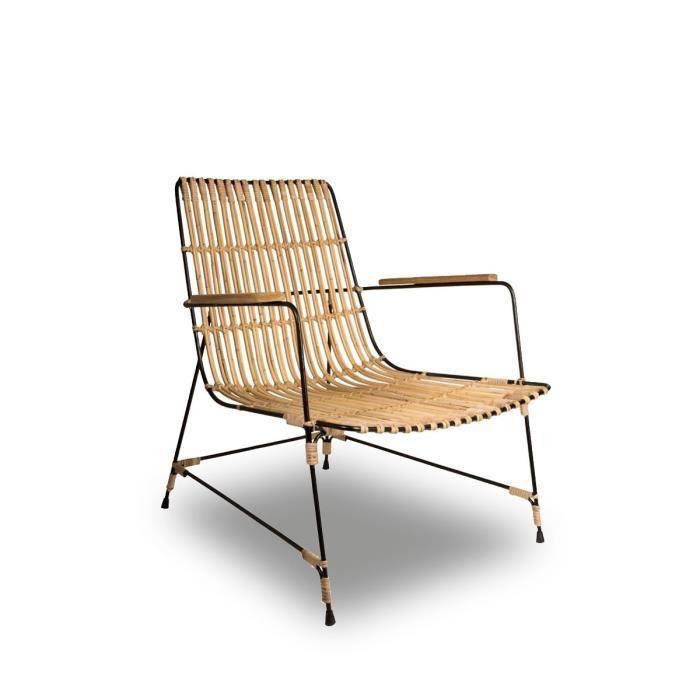 fauteuil m tal et rotin kubu couleur marron achat vente fauteuil marron cdiscount. Black Bedroom Furniture Sets. Home Design Ideas