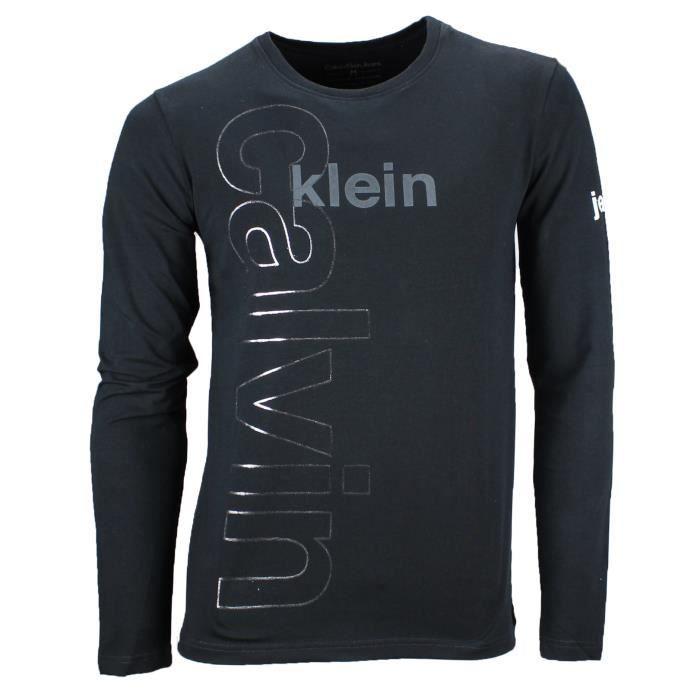 Calvin klein jeans tee shirt manche longue noir noir - Tee shirt manche longue calvin klein ...