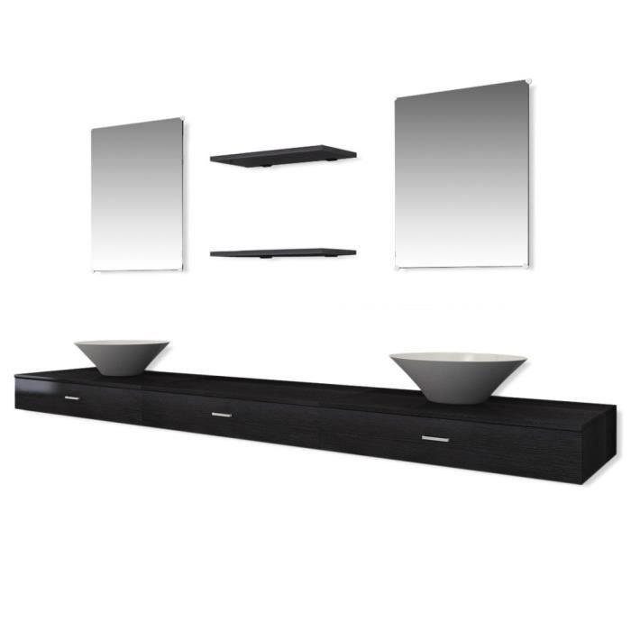 7 pi ces de mobilier de salle de bain et lavabo noir for Lavabo noir salle de bain