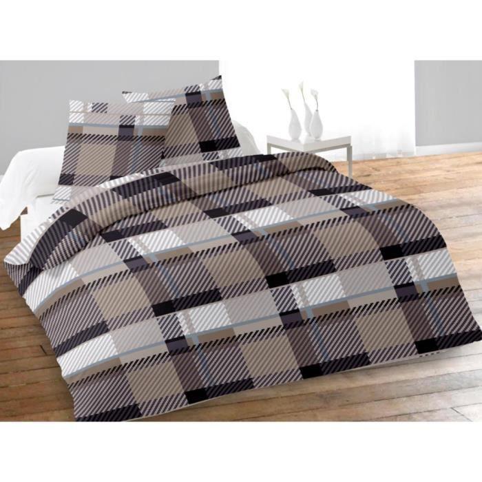 parure housse de couette 240x220 cm en flanelle achat vente parure de couette cdiscount. Black Bedroom Furniture Sets. Home Design Ideas