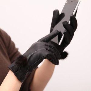 GANT TACTILE SMARTPHONE Femme Gant pour Ecran Tactile PU Cuir Gant Noir Bo
