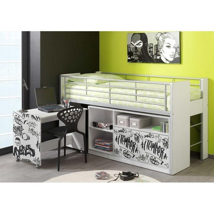 lit mezzanine avec bureau coulissant enfant bon achat. Black Bedroom Furniture Sets. Home Design Ideas