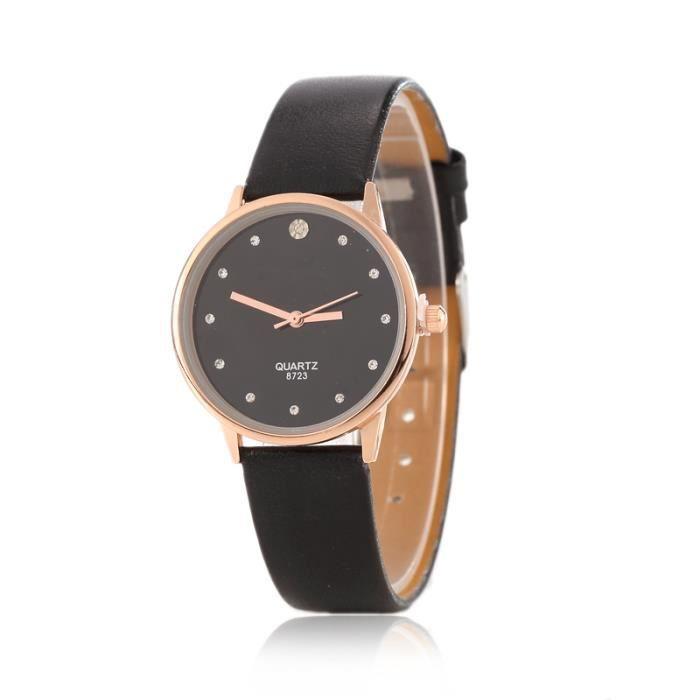 nouvelles l gant en cuir femme l gante montres pu bracelet quartz heures horloge de montre. Black Bedroom Furniture Sets. Home Design Ideas