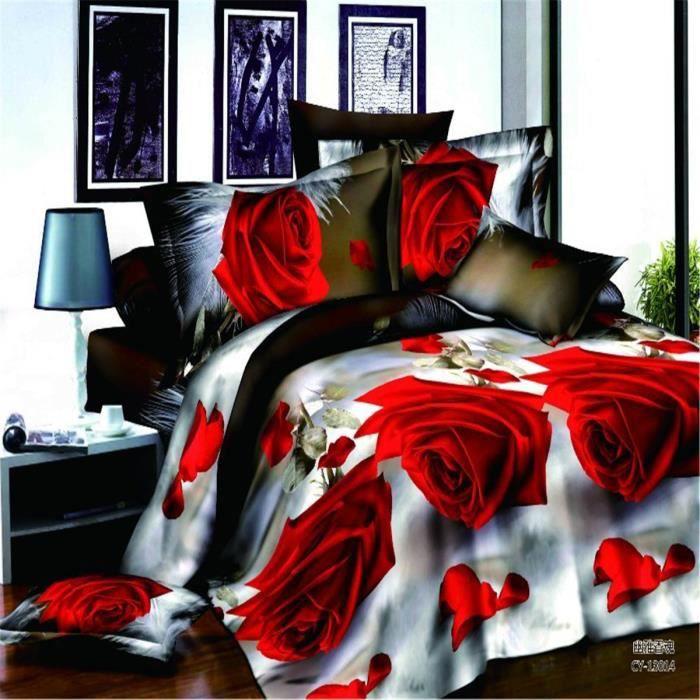 l m red rose motif parure de couette parure de lit 1 housse de couette 220x240 cm 2 taie d. Black Bedroom Furniture Sets. Home Design Ideas