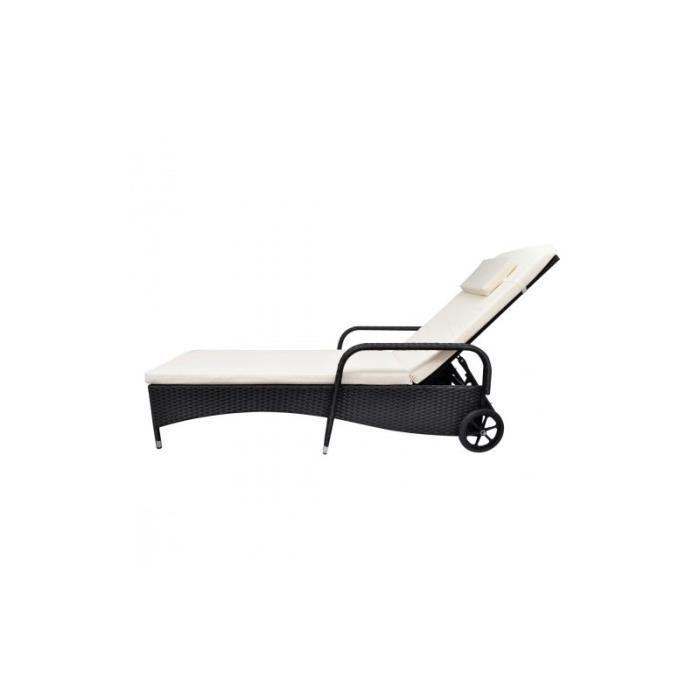 Lit de terrasse transat en poly rotin noir achat vente chaise longue lit de terrasse transat - Transat de terrasse ...