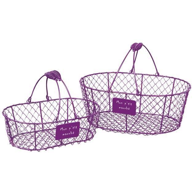 Panier metallique ovale violet en grillage avec anses mobiles une petite plaque portant l - Panier metallique rangement ...