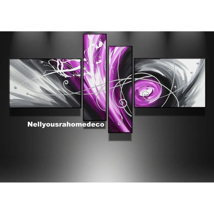 Tableau design dark purple noir rose violet 160cm achat for Tableau noir et rose