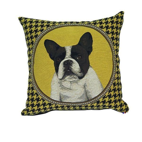 coussin t te de chien bulldog jaune 45 x 45 cm achat vente coussin cadeaux de no l cdiscount. Black Bedroom Furniture Sets. Home Design Ideas