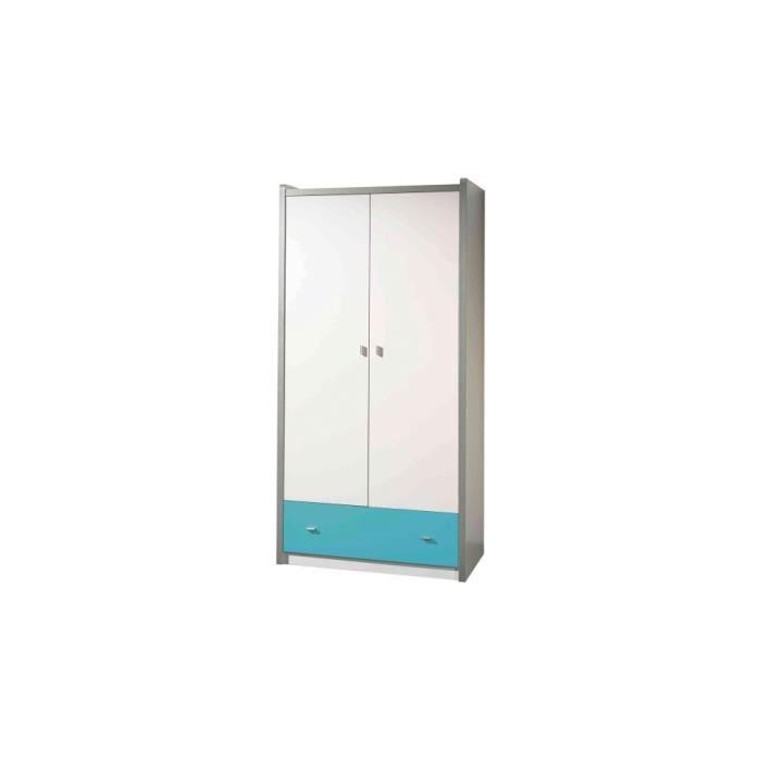 armoire enfant laqu blanc et bleu turquoise 2 portes 1 tiroir achat vente armoire de. Black Bedroom Furniture Sets. Home Design Ideas