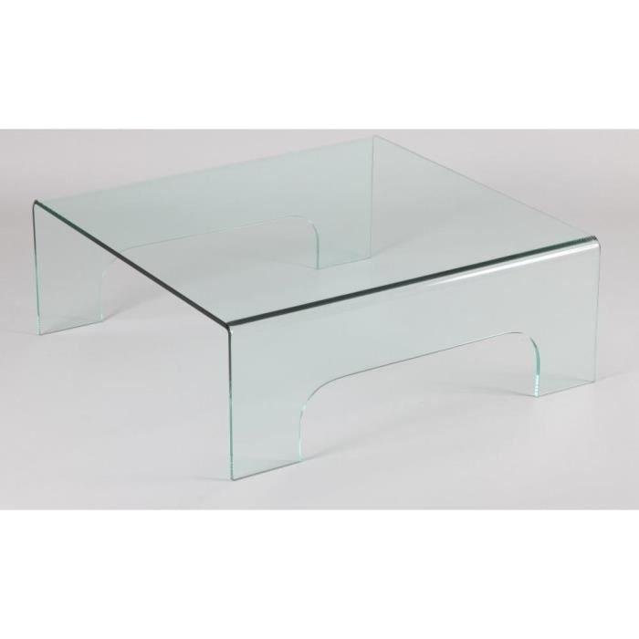 Table basse carr en verre quadrup de achat vente - Table basse en verre cdiscount ...