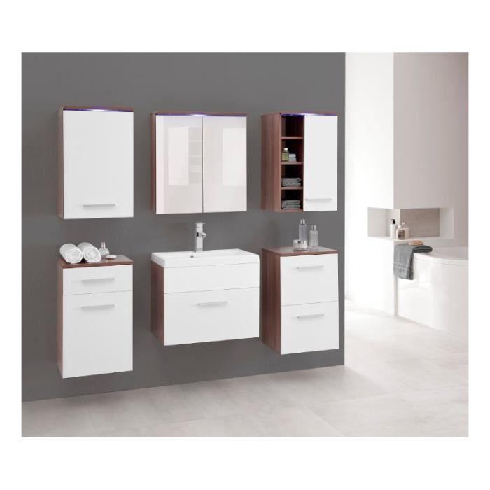 Justhome megi ensemble salle de bain en bois de prune blanc mat achat vente salle de bain - Ensemble salle de bain bois ...