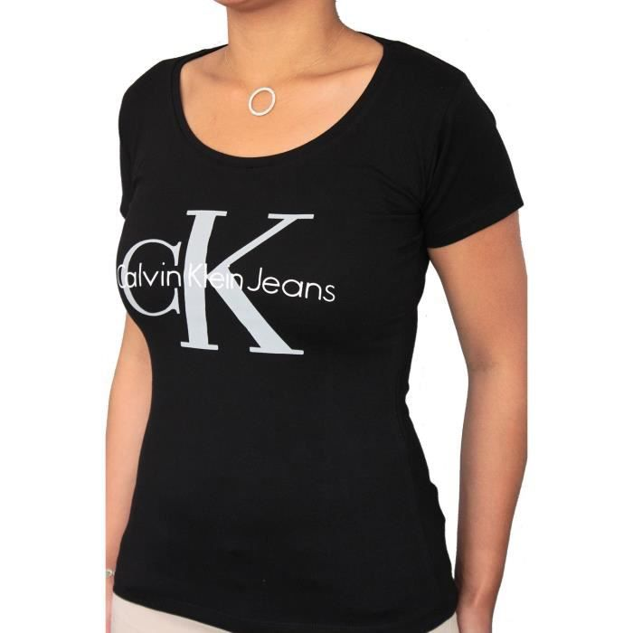 t shirt calvin klein jeans femme manches courtes noir noir achat vente t shirt cdiscount