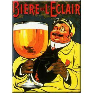 Deco plaques fer ou plaque emaillee  Plaque-metal-vintage-retro-biere-de-l-eclair-30x