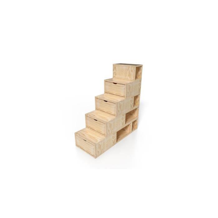 escalier cube de rangement hauteur 125 cm achat vente petit meuble rangement escalier cube. Black Bedroom Furniture Sets. Home Design Ideas