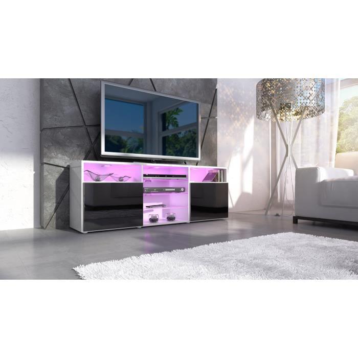 Meuble tv blanc et noir laqu avec tag re 146 cm achat - Meuble tv laque blanc et noir ...