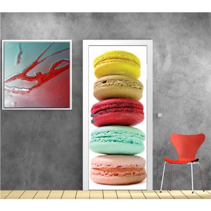 affiche poster pour porte cuisine macaron r f 9512 dimensions 83x204cm achat vente affiche. Black Bedroom Furniture Sets. Home Design Ideas