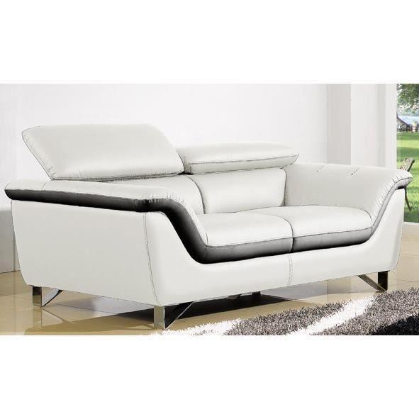 Salon cuir bicolore blanc et noir montreal achat vente - Salon cuir noir et blanc ...
