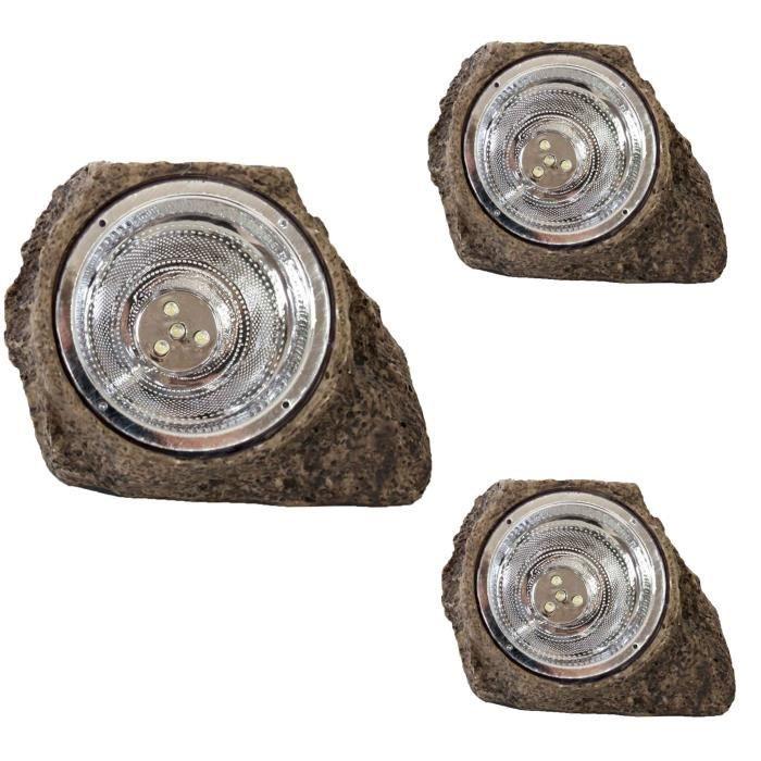 3x lampe ext rieure hw143 aspect pierre grise lampe for Lampe led jardin