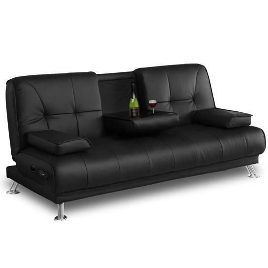 Convertible canbar noir convertible avec bar e achat for Vente de divan