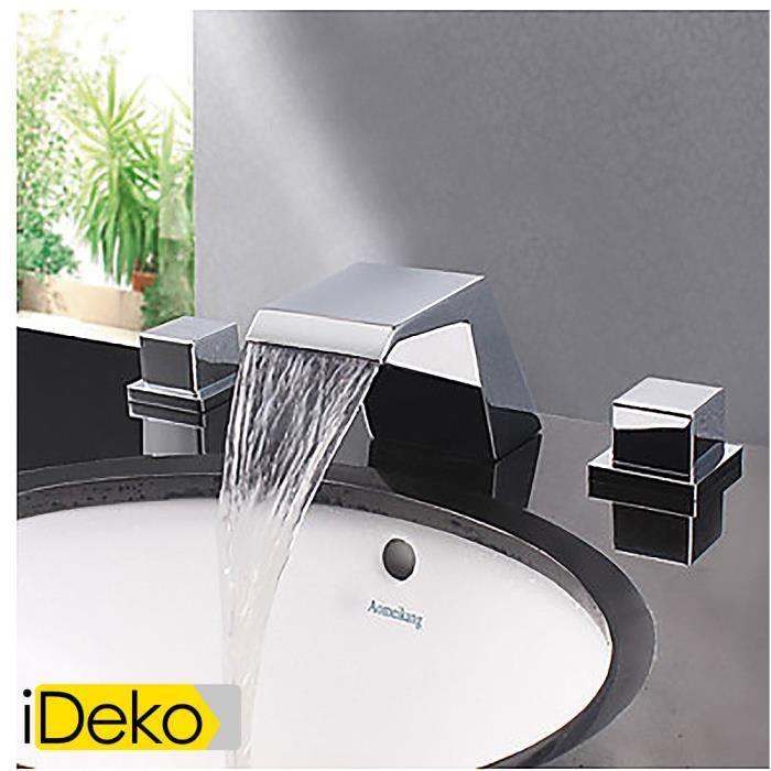 ideko robinet mitigeur lavabo moderne chrome designer bec cascade lavabo robinet achat. Black Bedroom Furniture Sets. Home Design Ideas