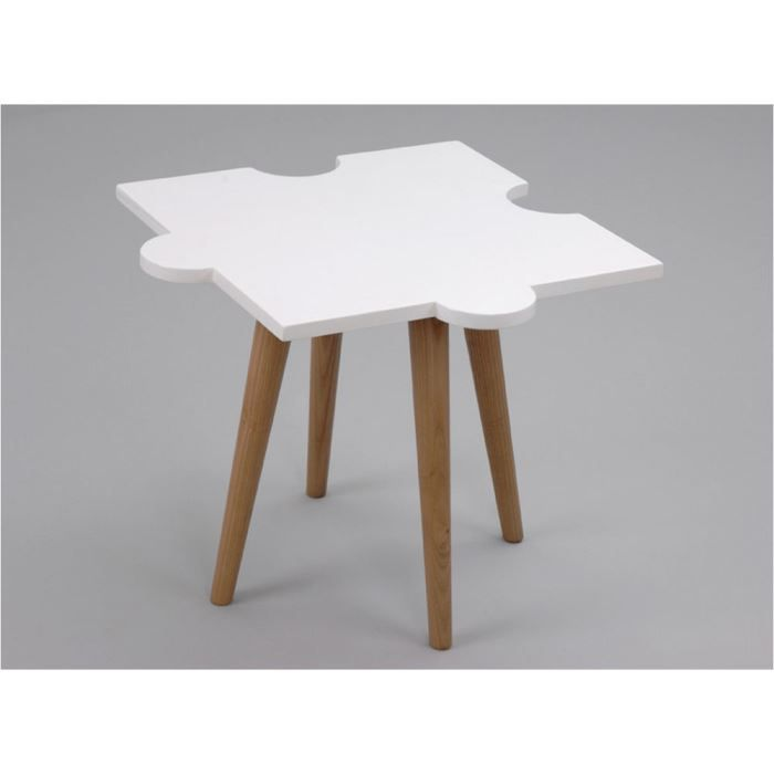 table basse puzzle blanche en mdf 55x55x45cm achat vente table basse table basse puzzle. Black Bedroom Furniture Sets. Home Design Ideas