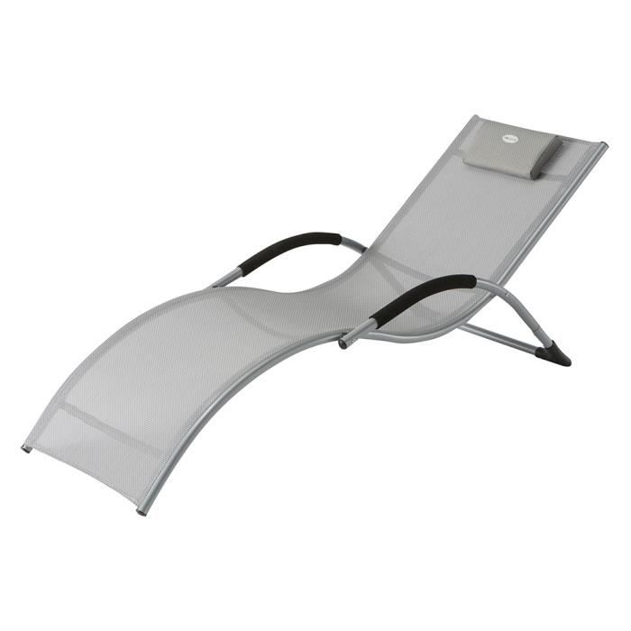 Transat gris en aluminium et texaline 177 x 65 x 73 cm for Transat jardin gris
