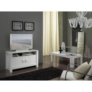 meuble tv blanc laque avec etagere achat vente meuble. Black Bedroom Furniture Sets. Home Design Ideas
