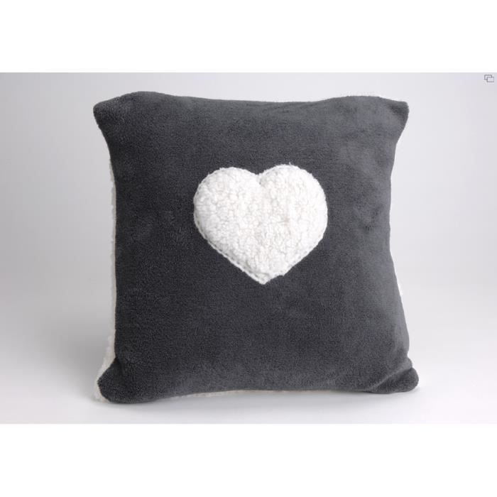 Coussin mouton coeur anthracite achat vente coussin cdiscount - Coussin anti transpirant ...