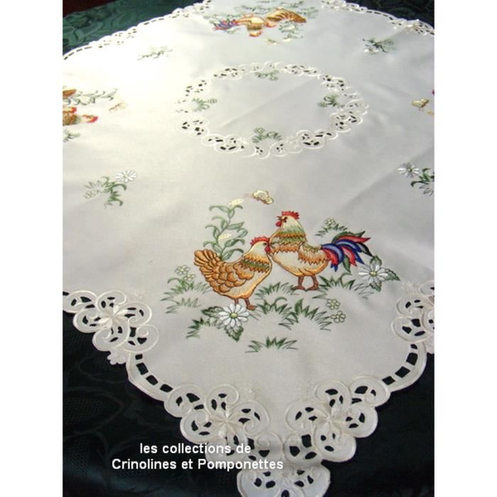 Nappe surnappe brodee sur polyester epais la basse cour for Nappe de table carre