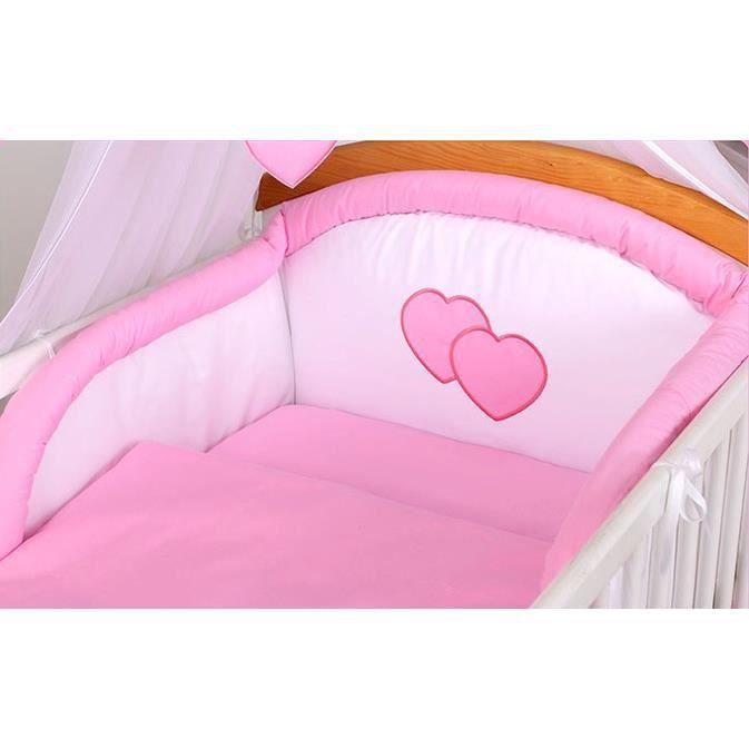 Set 5 pcs de lit b b tour de lit couette housse rose for Housse tour de lit bebe