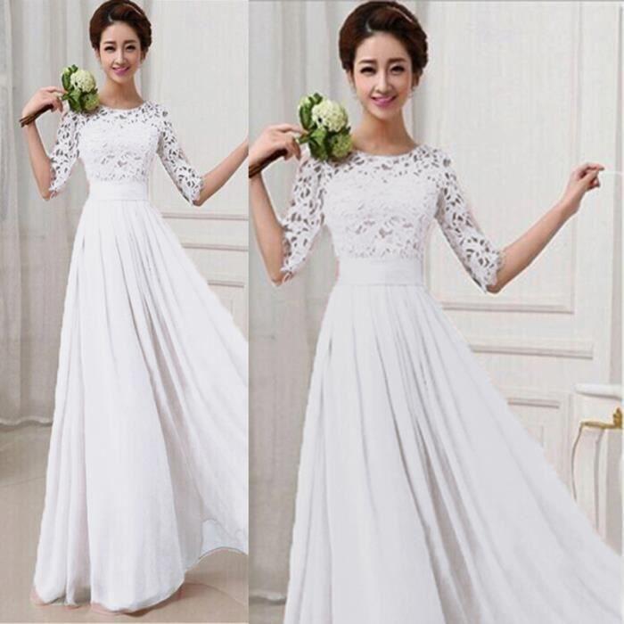 Dentelle femme maxi robe de soir e 1 2 manches blanc for Robe maxi blanche mariage