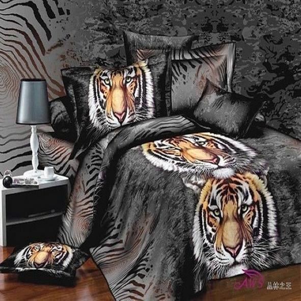 Parure de lit tigres 200 230 cm 3d effet 4 piece achat vente housse de co - Parure de lit one piece ...