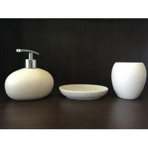 Set salle de bain fa on galets achat vente set accessoires set salle de bain fa on galets for Galet salle de bain vernis