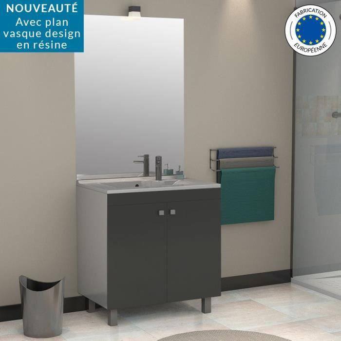Meuble salle de bain simple vasque porto 80 gris - Castorama vasque salle de bain ...