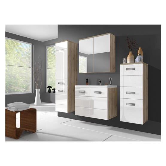 Ensemble salle de bain trium bois clair et blanc for Salle de bain bois et blanc