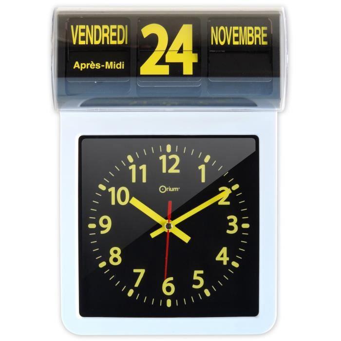 Horloge date noire et jaune achat vente horloge cdiscount - Horloge orium led bleue ...