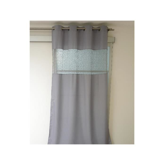 rideau oeillet fashion gris achat vente rideau 100 polyester m tal soldes cdiscount. Black Bedroom Furniture Sets. Home Design Ideas