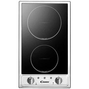 CANDY CTV200 - Table de cuisson Domino Vitrocéramique - 2 zones - 2900W - L29 x P51cm - Rev?tement verre - Noir