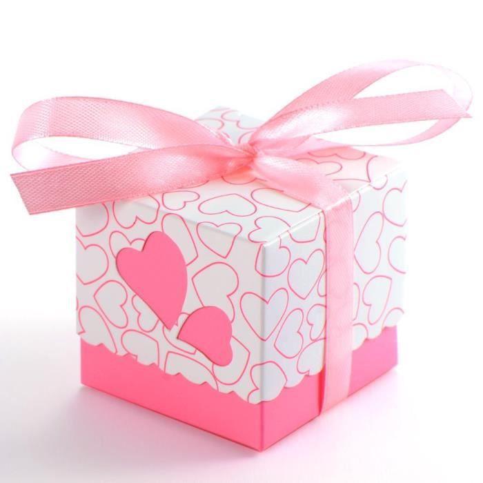 50 x rose bo te box sachet en papier bonbons achat - Papier cadeau noel pas cher ...