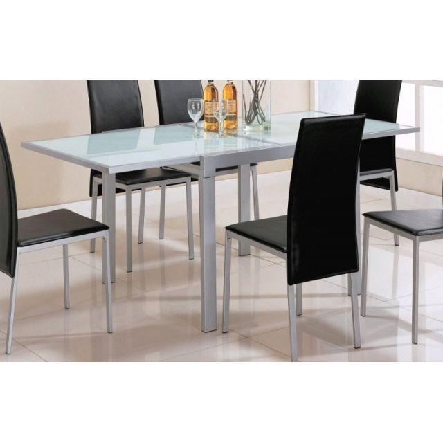 Table m tal et verre avec allonges integr es achat for Place du verre a eau sur une table
