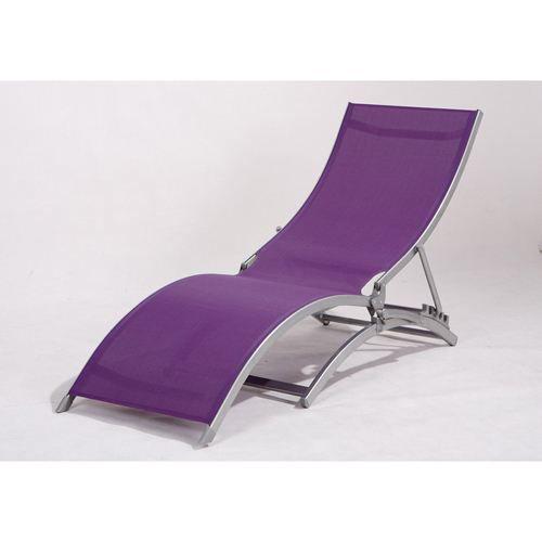 transat chaise longue 4 positions moa violet achat. Black Bedroom Furniture Sets. Home Design Ideas