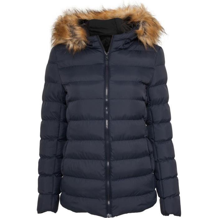 urban classics femme fourrure capuche veste d 39 hi bleu achat vente doudoune soldes. Black Bedroom Furniture Sets. Home Design Ideas