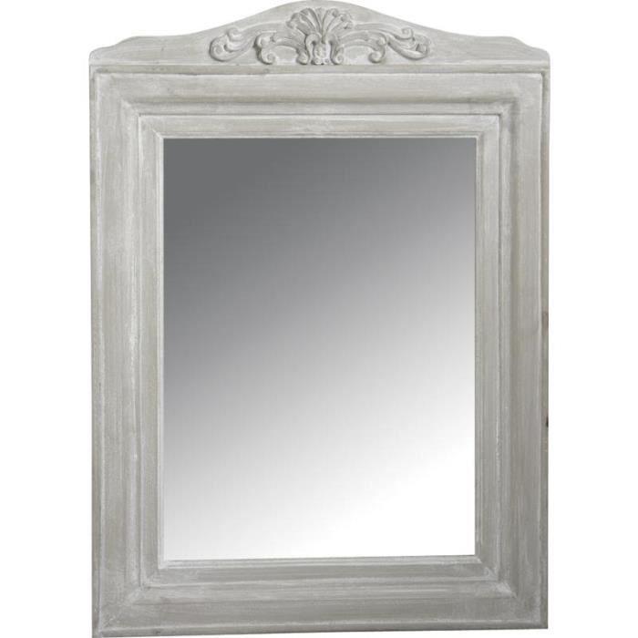 Miroir en bois blanc antique achat vente miroir bois for Miroir bois blanc