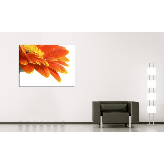bilderdepot24 tableau toile sur ch ssis en bois gerbera avec gouttes d 39 eau 120x90 achat. Black Bedroom Furniture Sets. Home Design Ideas
