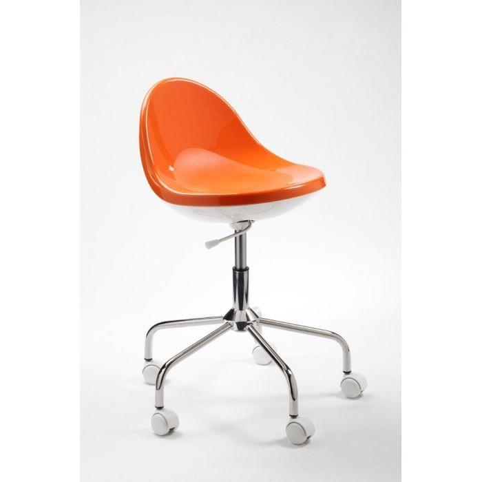 Chaise roulettes sputnik couleur orange achat vente for Roulettes pour chaise de bureau