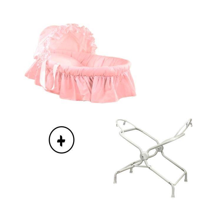 couffin b b avec textile coloris rose et son support. Black Bedroom Furniture Sets. Home Design Ideas