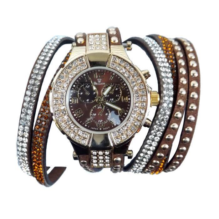 montre bracelet femme double tour cristal strass s tendance achat vente montre cdiscount. Black Bedroom Furniture Sets. Home Design Ideas