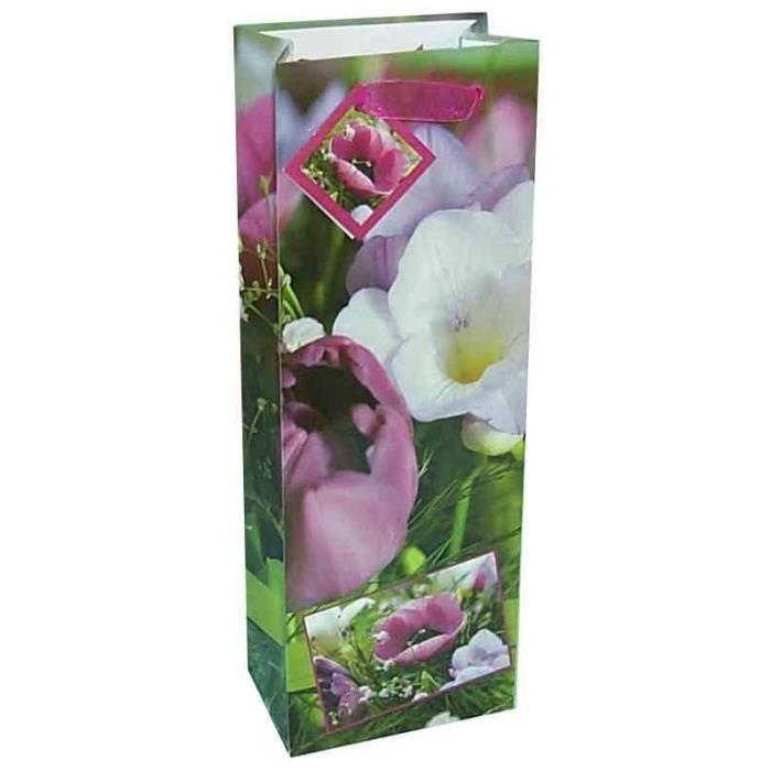 sac cadeau pour bouteille fleurs de printemps achat vente papier cadeau cdiscount. Black Bedroom Furniture Sets. Home Design Ideas