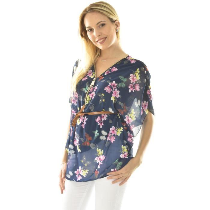 chemisier en voile motif fleuri achat vente chemisier blouse 2009931206770 cdiscount. Black Bedroom Furniture Sets. Home Design Ideas