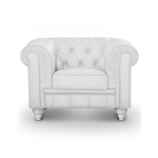 Fauteuil chesterfield blanc luxe achat vente fauteuil polyester coton pu cuir cdiscount - Fauteuil chesterfield blanc ...